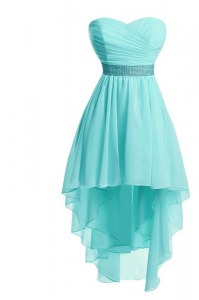 Aqua Blue Empire Sweetheart Sleeveless Organza High Low Lace Up Ruching and Belt Prom Party Dress