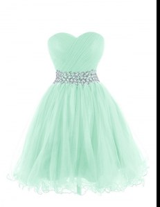 Fantastic Apple Green Sweetheart Neckline Belt Cocktail Dresses Sleeveless Lace Up