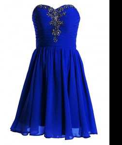 Mini Length Empire Sleeveless Royal Blue Lace Up