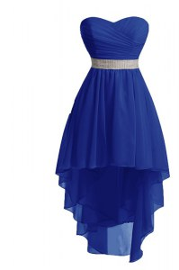 Dynamic Blue Sweetheart Lace Up Belt Pageant Dress for Womens Sleeveless