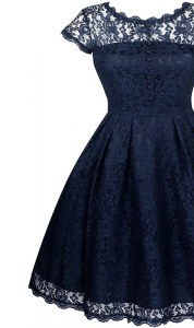 Scalloped Short Sleeves Tea Length Lace Zipper Evening Dress with Navy Blue