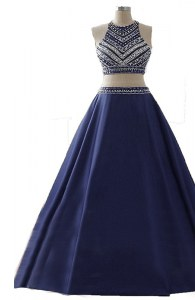Suitable Scoop Navy Blue Sleeveless Floor Length Beading Zipper Homecoming Dress