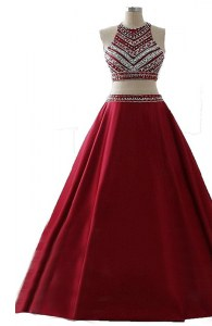 Low Price Wine Red A-line Scoop Sleeveless Chiffon Floor Length Zipper Beading Pageant Dress Toddler