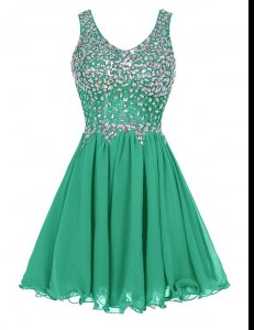 Glamorous Knee Length Green Oscars Dresses Straps Sleeveless Zipper