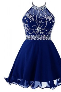 Spectacular Halter Top Royal Blue Zipper Prom Dresses Beading Sleeveless Mini Length