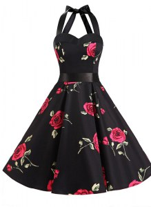 Fine Halter Top Sashes ribbons and Pattern Prom Gown Black Zipper Sleeveless Knee Length