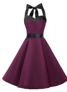 Halter Top Dark Purple Sleeveless Knee Length Sashes ribbons Zipper Prom Evening Gown