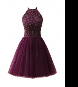 Fashionable A-line Evening Dress Dark Purple Scoop Chiffon Sleeveless Knee Length Zipper