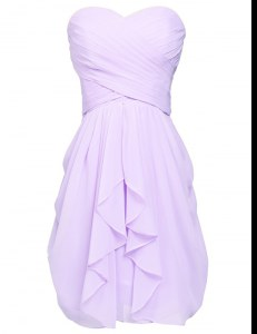 Ruching Prom Dress Lavender Lace Up Sleeveless Knee Length