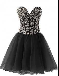 Black A-line Chiffon Sweetheart Sleeveless Beading Knee Length Lace Up Prom Gown
