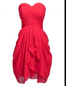 Sweet Coral Red Lace Up Hoco Dress Ruching Sleeveless Knee Length
