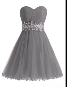 Elegant Grey Sweetheart Lace Up Beading and Ruching Prom Party Dress Sleeveless