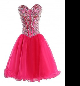 Sweetheart Sleeveless Organza Prom Gown Beading Lace Up