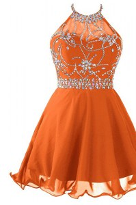 Sumptuous Orange A-line Organza Halter Top Sleeveless Beading Mini Length Zipper Prom Dress
