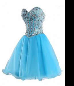 Flirting Mini Length Lace Up Cocktail Dresses Blue for Prom and Party with Beading