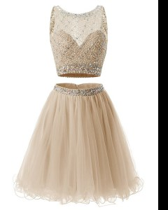 Lovely Sweetheart Sleeveless Prom Evening Gown Mini Length Beading and Belt Champagne Organza