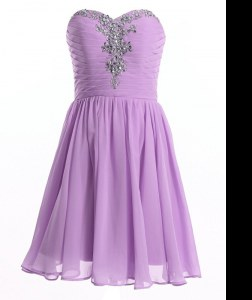 Lavender A-line Sweetheart Sleeveless Organza Mini Length Lace Up Beading Evening Dress