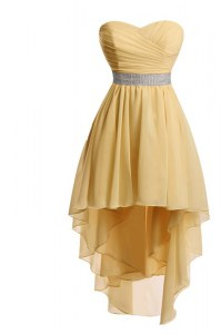 High Low Gold Dress for Prom Sweetheart Sleeveless Lace Up