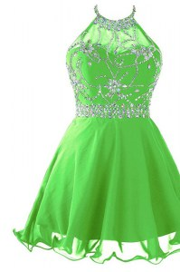 Decent Empire Prom Evening Gown Scoop Organza Sleeveless Mini Length Zipper