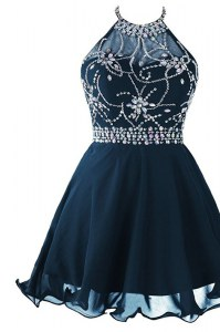 Sumptuous Navy Blue Prom Evening Gown Prom and Party and For with Beading and Belt Scoop Sleeveless Zipper