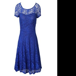 Free and Easy Blue Empire Scoop Short Sleeves Organza Tea Length Side Zipper Lace Celebrity Style Dress