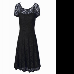 Scoop Short Sleeves Tea Length Lace Side Zipper Homecoming Dress with Black