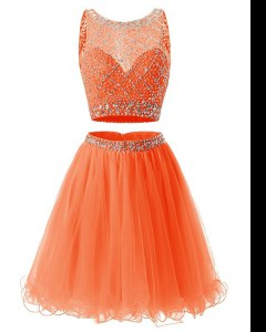 Artistic Orange Scoop Neckline Beading and Belt Sleeveless Backless