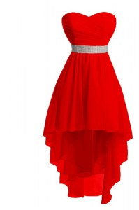 Spectacular Red Sleeveless Belt High Low Prom Gown