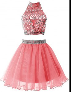 Super Watermelon Red A-line High-neck Sleeveless Chiffon Mini Length Zipper Beading Dress for Prom