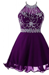 Stunning Halter Top Sleeveless Beading Zipper Homecoming Dress