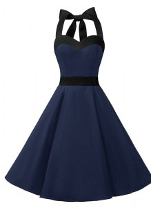 High Class Navy Blue Halter Top Zipper Sashes ribbons High School Pageant Dress Sleeveless