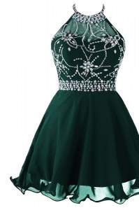Scoop Sleeveless Beading and Belt Zipper Prom Party Dress