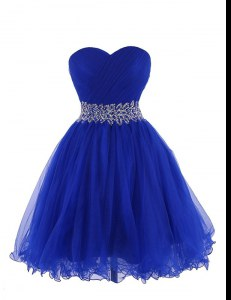 Free and Easy Royal Blue Cocktail Dresses Prom and Party and For with Belt Sweetheart Sleeveless Lace Up