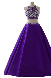 Dramatic Purple A-line Chiffon Scoop Sleeveless Beading Floor Length Zipper Prom Evening Gown