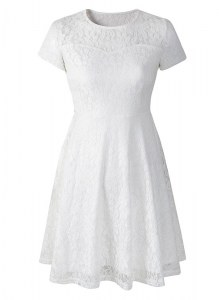 Modern White Scoop Neckline Lace Cocktail Dresses Short Sleeves Side Zipper
