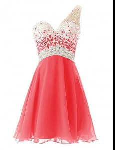 Adorable One Shoulder Sleeveless Criss Cross Evening Dress Watermelon Red Chiffon
