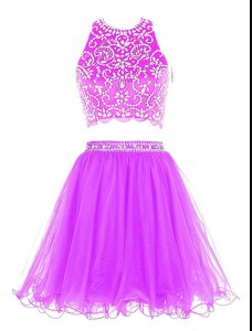 Purple Dress for Prom Prom and Party and For with Beading Scoop Sleeveless Clasp Handle