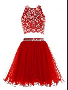 Empire Prom Dresses Red Scoop Chiffon Sleeveless Mini Length Clasp Handle