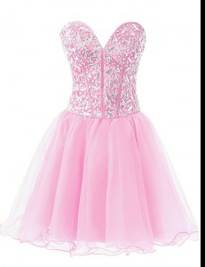 Rose Pink Sleeveless Chiffon Lace Up Cocktail Dresses for Prom and Party