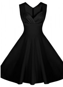 A-line Prom Evening Gown Black Sweetheart Satin Sleeveless Knee Length Zipper
