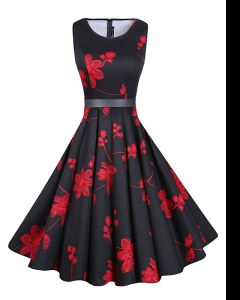 Stylish A-line Homecoming Gowns Red And Black Scoop Chiffon Sleeveless Knee Length Zipper
