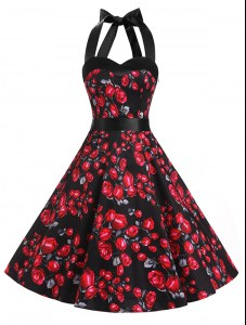 Popular Halter Top Knee Length A-line Sleeveless Red And Black Dress for Prom Zipper