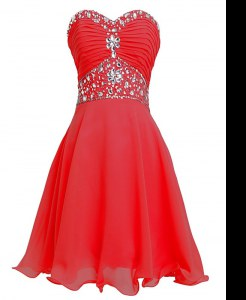 Deluxe Red Empire Organza Sweetheart Sleeveless Beading and Belt Mini Length Lace Up Prom Dress