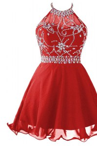 Fantastic A-line Prom Party Dress Red Halter Top Organza Sleeveless Mini Length Zipper