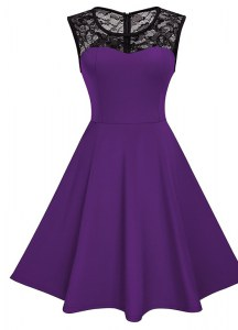 Trendy Scoop Purple Sleeveless Knee Length Lace Zipper Prom Dress