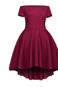 Cute Burgundy Bateau Neckline Ruching Prom Party Dress Short Sleeves Side Zipper