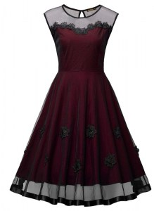 Burgundy Organza Side Zipper Scoop Sleeveless Ankle Length Prom Dresses Embroidery
