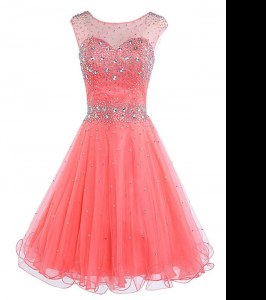 Scoop Mini Length Watermelon Red Hoco Dress Chiffon Sleeveless Beading