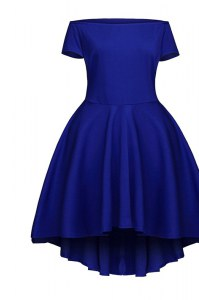 Hot Sale Blue Side Zipper Pageant Dress for Teens Ruching Short Sleeves Tea Length