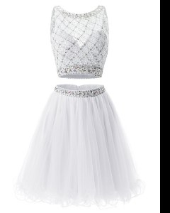 New Arrival A-line Prom Dress White Sweetheart Organza Sleeveless Mini Length Side Zipper